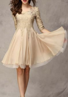 Khaki Plain Seven's Sleeve Lace Dress. I love the swishy skirt part of the dress
