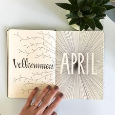 Bullet journal monthly cover page, April cover page, lineart. | @bujodeluxe
