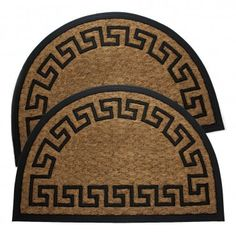2 Natural Coir Fiber Half Round Doormats - Greek Key Pattern