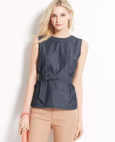 Ann Taylor Belted Cotton Chambray Shell