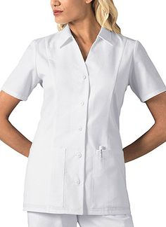 "Standing Collar Top in White A stand collar details this stylish button-front twill top with two roomy patch pockets. The princess seaming and center back elasticized waist give soft shaping. Great for the healthcare professional or for the medical student. Center back length 28"".  Fabric: Poly/Cotton Twill-Soil Release $21.99 3scrubs #nurses #doctors #medicaloutlet"