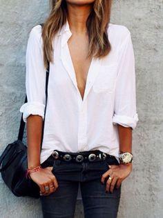 White side split long sleeve shirt
