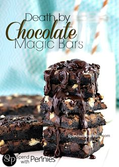 Death By Chocolate Magic Cookie Bars- Chewy, chocolately cookie bars prepared and baked in 30 minutes. Topped with a delicious fudge sauce, these will be a hit with your family! Magic Cookie Bars, Magic Bars, Chocolate Topping, Chocolate Desserts, Chocolate Cookie Bars, Chocolate Bar Recipe, Chocolate Liquor, Chocolate Brownies, Chocolate Ganache