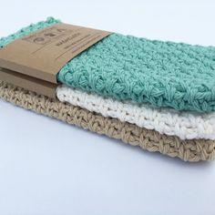 Washcloth Set of 3 washcloths handmade kitchen by ShadyCreekFarmNC