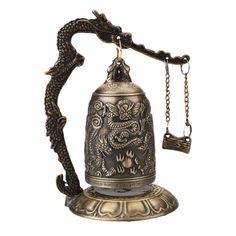 ORAF Home Decoration China Buddhism Brass Copper Carved Statue Lotus Buddha Dragon Bell Clock Bronze Buddhist Bells Artware Feng Shui Symbols, Feng Shui Art, Dragon Statue, Dragon Art, Antique China, Antique Copper, Tarot, Dragons, Statue En Bronze