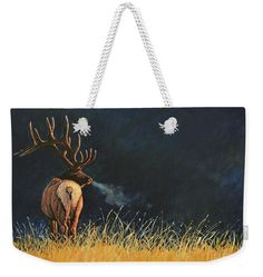 October Morning. Original Elk painting by Lee R Gardner printed onto your very own weekender tote bag. Great gift for yourself or another wildlife enthusiast. Many other images available.