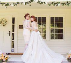 #maidofhonor #sisterandbride #farmhousewedding #porchwedding #longtrain