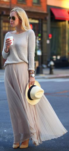 Pleated skirt trend + neutral colours + Helena Glazer  Sweater: TK Maxx, Skirt: Zara, Shoes: Sigerson Morrison, Hat: J Crew.