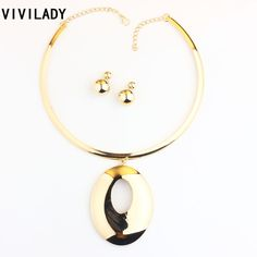 b646ab4336529 VIVILADY Trendy Chunky Oval Alloy Pendants Jewelry Sets Women Mother Gold  Color Torques African Necklaces Earrings Bridal Gifts-in Jewelry Sets from  Jewelry ...