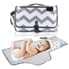 Cute Bunny Waterproof Baby Changing Pad Diaper Bag Mat Stroller Strap,Side Pocket for Wipes Diaper| for Infants /& Newborns Foldable Travel Changing Station Portable Diaper Changing Pad