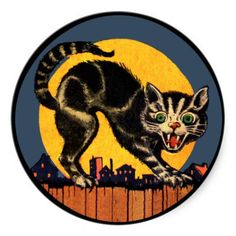 Vintage Halloween Cat Sticker