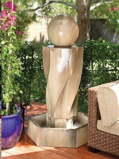 Outdoor Glass Fiber Reinforced Concrete Garden Fountain: Gist Décor: Tornado With Sphere Fountain