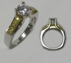Custom Engagement Ring with Yellow Diamond Accents #imagesjewelers