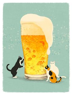 """さけのさかにゃ """"cat's and beer"""" © shino All rights reserved."""