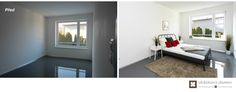 Home Staging nezařízeného rodinného domu v Praze #praha #prague #czech #homestaging #pred #po #before #after #white #walls #novostavba #bedroom #red #gray #ikea #cz