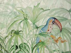 Suggestivi paesaggi per le nuove carte da parati Color Of The Year 2017, Tropical Wallpaper, Tropical Style, Tropical Pattern, Kids Wallpaper, Fauna, Tropical Plants, Exotic Pets, Shades Of Green