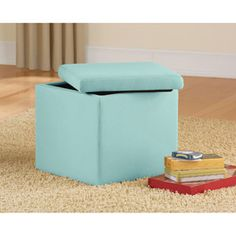 $16.88 15x15x15 Mainstays Faux Suede Ultra Storage Ottoman, Multiple Colors Available in Marrerro & Kenner