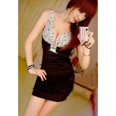 $8.00 Women's Sexy Bodycon Dress With Plunging Neck Rhinestone Embellished Design