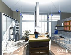 This light and airy 3D render of a sleek and modern kitchen was created in 20:20 Technologies' Fusion with its integrated Lightworks rendering engine.