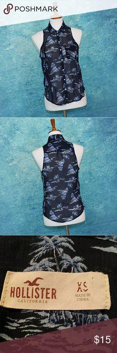 Hollister Hawaiian sleeveless collared blouse XS Hollister Hawaiian sleeveless, button up. collared blouse XS. Patch pocket with logo. Hollister Tops Blouses