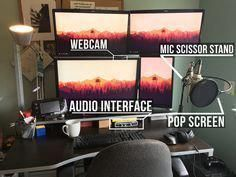 This is my what my home setup looks like. 23 Things Every Twitch Streamer Needs Gaming Room Setup, Computer Setup, Pc Setup, Desk Setup, Gaming Computer, Gamer Setup, Gaming Rooms, Twitch Streaming Setup, Game Streaming