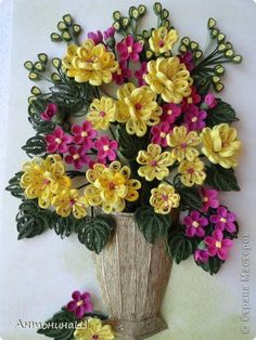 *QUILLING ~ Painting panels pattern Quilling Bouquet in a bronze vase Photo Paper 2