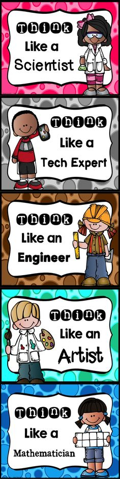 These posters are cute and kid-friendly. I would like to hang these in my classroom to remind my students that they are scientists, engineers, and so on. I think these would be awesome to encourage students during STEAM activities. Stem Science, Teaching Science, Science Ideas, Science Fair, Stem Learning, Project Based Learning, Stem Steam, Steam Art, Stem Classes