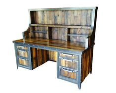 Reclaimed Wood Industrial Desk - Industrial Evolution Furniture Co. offer the industrial reclaimed wood desk made of bent steel edges and welded frames which define the stylish design and unique appearance of this vintage look rustic furniture. Industrial Lockers, Industrial Style Furniture, Industrial House, Modern Industrial, Rustic Furniture, Modern Furniture, Industrial Windows, Industrial Chandelier, Industrial Bookshelf
