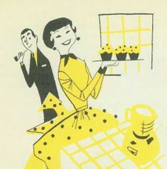 Serving cupcakes to her man ~ ca. 1950s