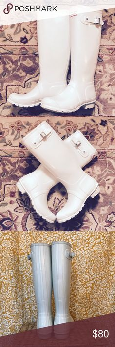 White Hunter Boots Tall women's white Hunter boots. I'm so sad to give these up but they are just too big for me! I've worn them a few times, kept them in good shape. Some minor scuffs that couldn't be wiped off. Make me a reasonable offer! Hunter Shoes Winter & Rain Boots