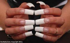 .plain white french manicure Long French Nails, Long Red Nails, French Tip Acrylic Nails, Long Fingernails, Long Square Acrylic Nails, Dope Nails, Bling Nails, Fun Nails, Nail Picking