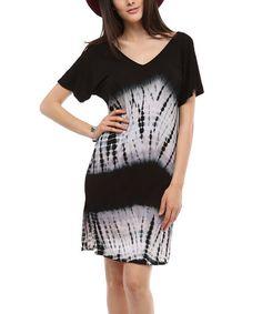 Another great find on #zulily! Black & White Tie-Dye Shift Dress by Urban X #zulilyfinds