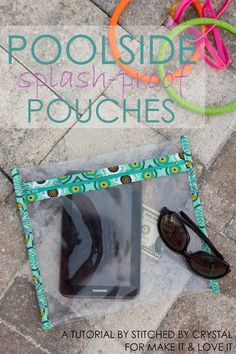 A tutorial to make a vinyl poolside splash-proof pouch, perfect for keeping your electronics safe from splashes at the beach or pool! Sewing Hacks, Sewing Tutorials, Sewing Crafts, Sewing Projects, Sewing Patterns, Tutorial Sewing, Bag Tutorials, Diy Projects, Beginners Sewing