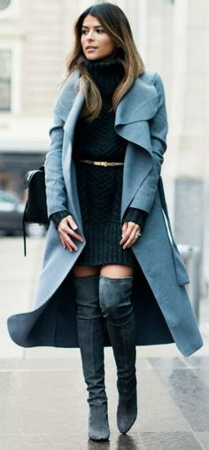 Pam Hetlinger + thigh high boots + pale blue maxi coat + cute cable knit sweater dress + mini belt   Coat: Missguided, Dress: Asos, Boots: Stuart Weitzman.... | Style Inspiration