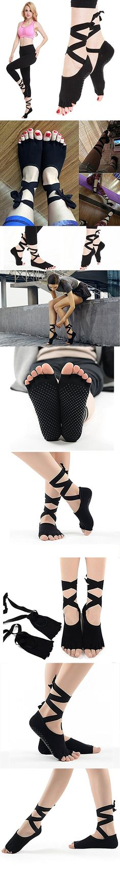 IFUNLE Women's Yoga Toe Socks Toeless Half-toe sock Non Slip Non Skid with Full Grips for Pilates Barre (Black)