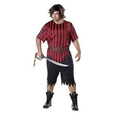 Plus Size Mens Pirate Costume Halloween 3 Piece Set Totally Ghoul XXL 2XL 50-52 #TotallyGhoul #CompleteCostume