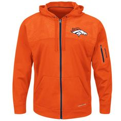 80ce2b584 Men s Majestic Orange Denver Broncos Ready For Action Therma Base® Full-Zip  Hoodie