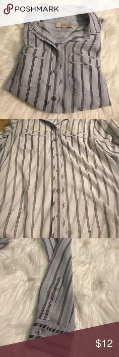 Sheer button up blouse Sheer blue button up LOFT Tops Button Down Shirts
