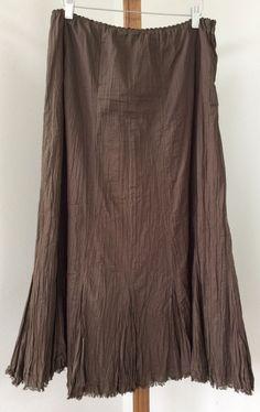 8cace8805f Eddie Bauer Skirt Size Small Full Broomstick Brown Crinkle Lined #EddieBauer  #FullSkirt Women's Skirts