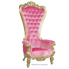 The ultimate princess chair! Absolom Roche Baroque Chair in Gold & Pink Velvet #French Baroque & Rococo Furniture www.fabulousandbaroque.com