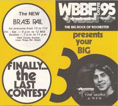 WBBF Radio 95 ad, featuring Tom George Rochester New York, Back Home, Trivia, Wallpaper Backgrounds, Growing Up, Gem, Nostalgia, Memories, History