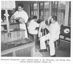 Technicians make artificial limbs in the Processing and Fitting Shop, Lawson General Hospital, Atlanta, Ga.