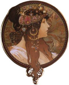 Alfons Maria Mucha(24 July 1860 – 14 July 1939), often known in English and French as Alphonse Mucha, was a Czech Art Nouveau painter and decorative artist - Byzantine Head. The Brunette, 1897