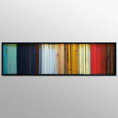 "Wood Wall Art - ""Gradient""- Wood Stripes in Red, Yellow, Brown, Teal - 16""x55"" - Wood Wall Sculpture"