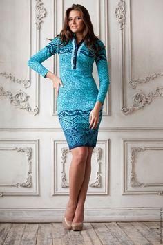 """Купить Платье """"Морской Бриз"""" - темно-бирюзовый, орнамент, бирюзовое платье, трикотажное платье"""