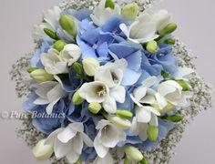 Blue Hydrangea Wedding Bouquet | Blue hydrangea, gypsophila and freesia wedding bouquet.