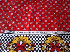 African Fabric Kanga Khanga Red White Yellow and Black Fabric ( Urafiki Kanga) on Etsy, £15.83