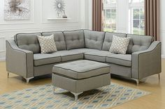 4 pc Sampson II collection light grey linen like fabric upholstered sectional sofa couch with ottoman Couch With Ottoman, Sectional Ottoman, Fabric Sectional, Couches, Fabric Ottoman, Tufted Ottoman, Living Room Furniture, Home Furniture, Grey Furniture