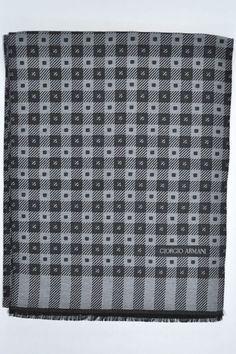 Wool/silk Giorgio Armani scarf with black gray squares design. Genuine Giorgio Armani men collection.