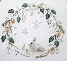 pretty bunny embroidery with circular border/frame